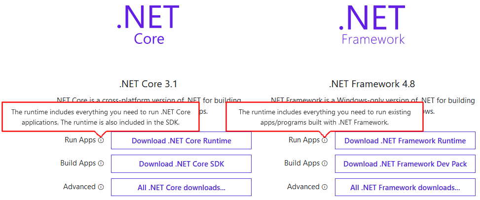 Download runtime for.NET Framework and .NET Core applications.